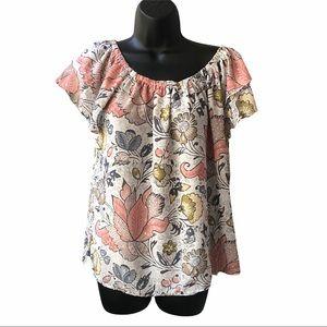 LOFT Floral Short Sleeve Blouse Size M